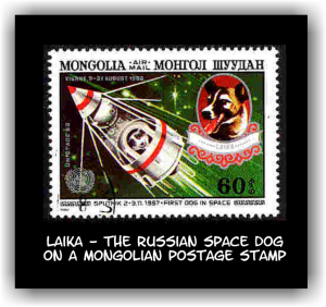 Laika on a stamp