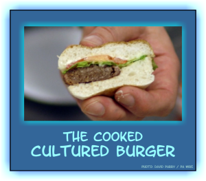 The cultured burger cooked